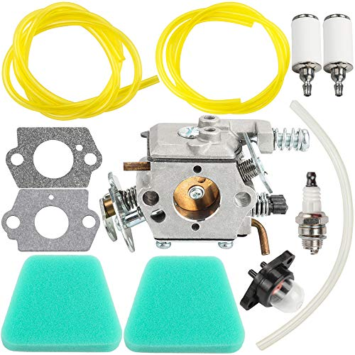 Dalom WT-89 Carburetor w 2pcs Air Filter Fuel Line for Poulan Woodshark Chainsaw 1950LE 1975LE 2150LE 2055LE 2375LE 2050 2150 2175 2250 2375 2450 2550 2550LE 2550SE Woodmaster Chain Saw