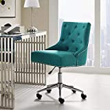 Modway Regent Tufted Button Upholstered Fabric Swivel Office Chair with Nailhead Trim in Teal