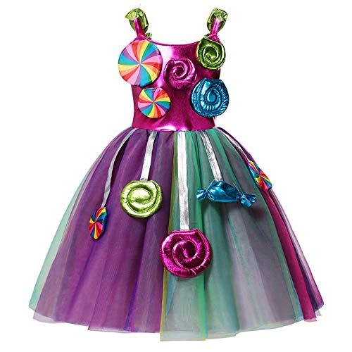ranrann Disfraz de Princesa Vestido de Fiesta Disfraz de Carnaval sin Manga Caramelo con Diadema Multicolor 5-6 aos