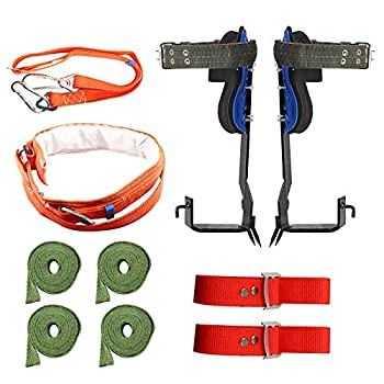 TWSOUL Tree Climbing Spike Set 2 Gears with Safety Harness Belt 304 Stainless Steel Tree Climbing Tool Safety Non-Slip Belt for Rock Climbing Picking Fruit Indoor Climbing and Outdoor Sports
