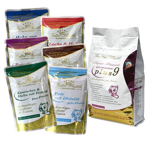 Sparpaket Getreidefreies Katzenfutter. Getreidefreies Katzen Trockenfutter Plus 9 und Nassfutter Gold Edition in Spitzenqualität.