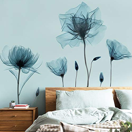 EANUR Blue Flower Wall Decals Wall Stickers Peel and Stick Removable Decal Stick DIY Wall Art Murals Home Wall Decor for Bedroom Living Room Classroom Office Wall Decaoration