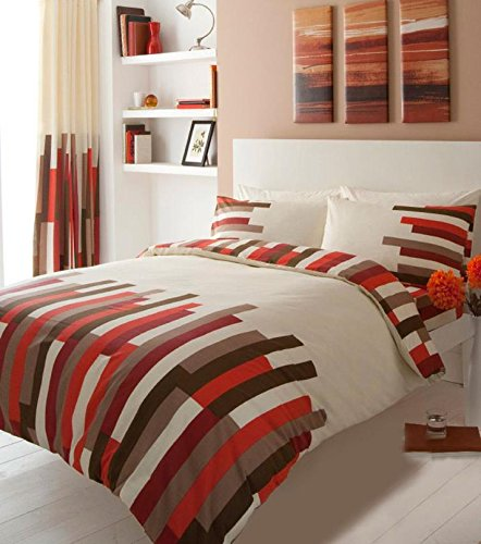 Gaveno Cavailia Luxury BLOCKS Bed Set With Duvet Cover and Pillow Case, Cream/Red, Polyester-Cotton, Double