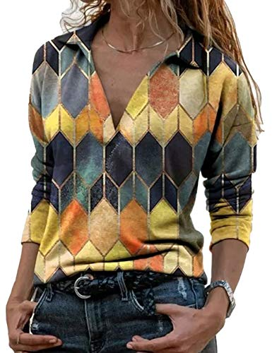 2021 Autumn Winter New Women's Tunics V-Neck Long Sleeved Blouses Casual T-Shirts (Yellow, M)…