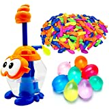 AMENON Water Balloons for Kids with Filler Pump, Colorful Air Balloons, Summer Splash Water Balloon Toys, Rapid-Fill Air and Water for Kids Boys Girls Fun Water Party Games (102 Balloons) (Orange)