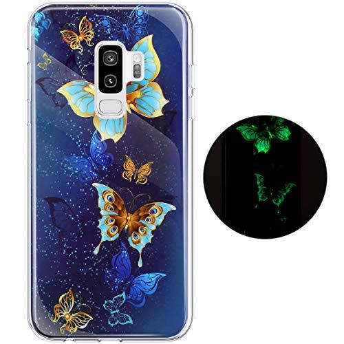 Hpory Kompatibel mit Galaxy S9 Plus Hülle, Handyhülle Samsung Galaxy S9 Plus Glow im Dunkel Nacht Leuchtend Weiche TPU Silikon Transparent Bumper Schale Case Cover Tasche Schutzhülle - Gold Blau