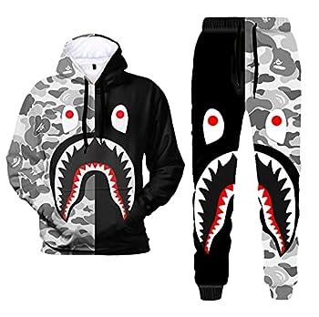 3D Print Camo Shark Hoodies and Pants Fashion Causal Sport Suit for Men Women 4,S