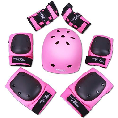 Mega Motion Einstellbare Sport Schutzausrüstung Schutz für die Sicherheitsabdeckung festlegen für Roller Fahrrad BMX Bike Skateboard Roller und andere Extremsportarten (Rosa, S)