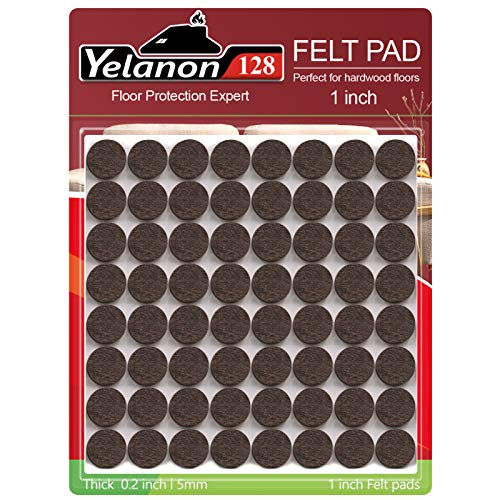 Felt Furniture Pads -128 Pcs Furniture Pads Self Adhesive, Cuttable Felt Chair Pads, Anti Scratch Floor Protectors for Furniture Feet Chair Legs, Furniture Felt Pads for Hardwoods Floors, Brown