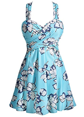 COCOPEAR Women's Elegant Crossover One Piece Swimdress Floral Skirted Swimsuit(FBA) Medium Aquamarine Floral 4XL/20-22