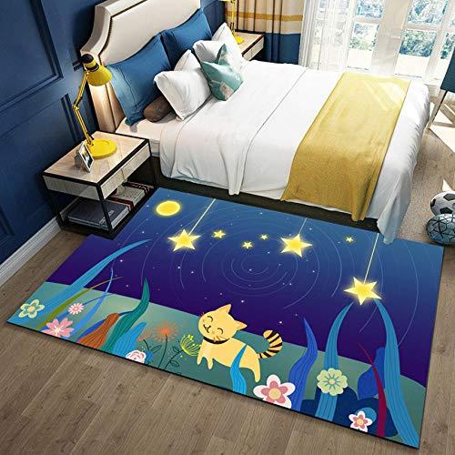 YQZS Teppich Schlafzimmer Teppich Orientteppich Gelbe Katze Für Wohnzimmer, Schlafzimmer, Kinder Spielzimmer, Dekorativer Teppich,60X100Cm(23X39Inch)