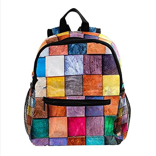 Schultasche für Kinder Buntes Holz Reiserucksack Kinder Leichter Kinderrucksack Beiläufig Schulranzen Mini Backpack Für Baby Jungen und Mädchen 25.4x10x30CM