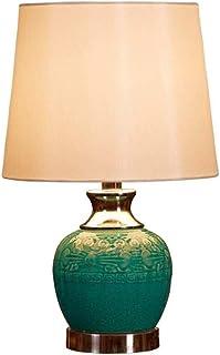 WYBFZTT-188 Lampe de Table en céramique Verte, la Main en céramique rétro Salon de Style européen Chambre Table de Chevet ...