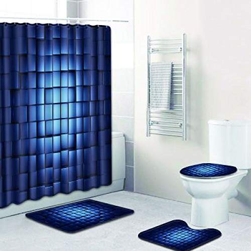 CCBAO Moderno Y Simple Poliéster Impermeable Cortina De Ducha Baño Antideslizante Alfombra De Piso Inodoro Lavable Conjunto Combinado De 4 Piezas