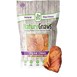 Nature Gnaws for Dogs – Premium Natural Whole Pork Chews – Simple Long Lasting Dog Treats for Large Dogs and Aggressive Chewers – Rawhide Free