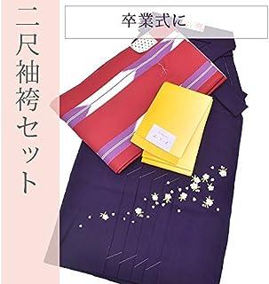 二尺袖 袴 半幅帯 3点セット 赤 矢絣 紫 刺繍 無地 卒業式 謝恩会 spo6640-koa112 【新品】【着物ひととき】