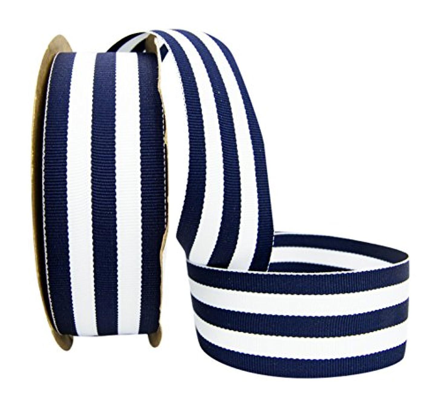 Ribbon Bazaar Grosgrain Mono Stripes 1-1/2 inch Navy 20 Yards 100% Polyester Ribbon
