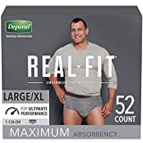 Depend Real Fit Incontinence Underwear for Men, Maximum Absorbency, Disposable,...