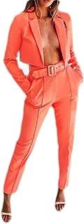 Macondoo Womens 2 Pieces Pants Cropped Coat Jacket Blazer Suit Sets