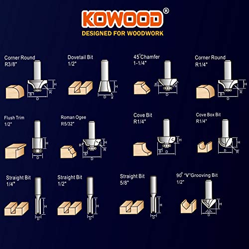 KOWOOD Router Bits Set of 12 Pieces 1/2 Inch Woodwork Tools for Beginners