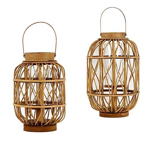 Kaars/Houder Set Van 2 Kandelaar Balkon Decoratie Winddichte Paardenlamp, Houten Wilg Rotan Klassieke Tuin Wind Lamp