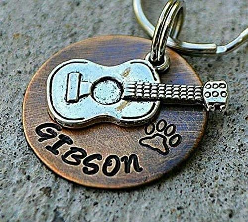 Guitar Dog Tag, Personalized Pet ID Tag, Dog Tag Hand Stamped, Music Pet Tag