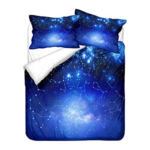 Galassia Blu Stelle Pianeta Costellazione Stampa 3D Poliestere Set Biancheria da Letto Bambini Ragazzi Ragazze Copripiumino e Federa Morbido Anti Rughe (Galaxy 5, 240x220 cm)