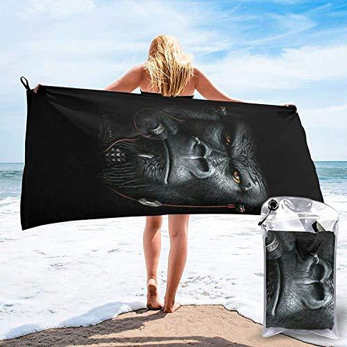 Toalla de baño Silverback Gorilla, Toalla de Gimnasio, Toalla de Playa, Súper Absorbente, Microfibra Suave de Secado rápido, Ligero-Blanco-27.5 'x55