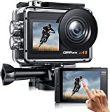 Campark X40 Action Camera 4K Dual Screen with EIS Touchscreen Remote Control WiFi Waterproof 40M Vlog Camera 20MP with 2x1350mAh Batteries and Accessories Kit