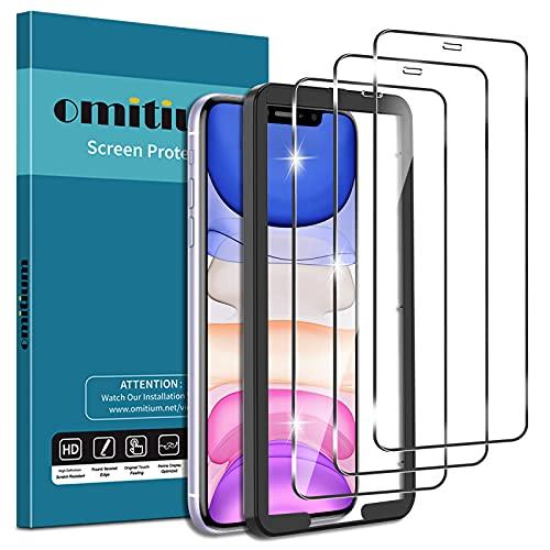 omitium 3 Pezzi Vetro Temperato per iPhone 11/ iPhone XR, 9H Durezza Pellicola Protettiva iPhone XR [Cornice Allineamento Facile] Senza Bolle Anti-graffio Protezione Schermo per iPhone 11