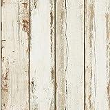 Papier peint imitation bois flotté | Papier peint bois blanc intissé 36893-1 | Papier peint pas cher pour couloir étroit et sombre & cuisine !