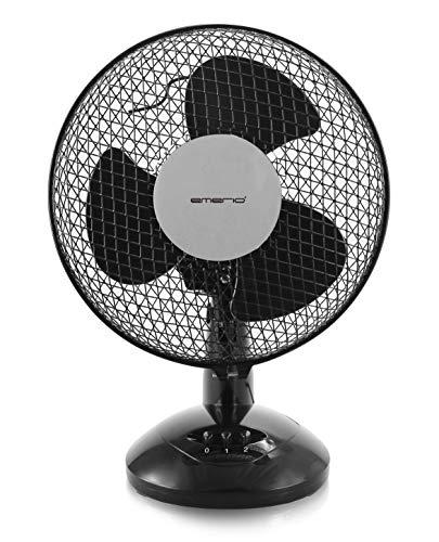 Emerio FN-114201.1 23cm Tisch Ventilator mit 3 Rotorblättern und 2 manuell verstellbaren Geschwingigkeiten, 25 W, 230 V, Schwarz