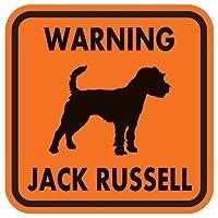 WARNING JACK RUSSELL マグネットサイン:ジャックラッセル(オレンジ)Mサイズ