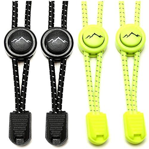 gipfelsport Elastische Schnürsenkel mit Schnellverschluss - Gummi Schnellschnürsystem ohne Binden | Schnürsystem für Kinder, Herren, Damen I 2X Paar: schwarz/neon-gelb