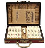 HOHTECH Mahjong Set with Box / Mah Jongg Game Set for Entertainment, Enhancing Brain Activity - Small Game Pieces for Practical Travel Size