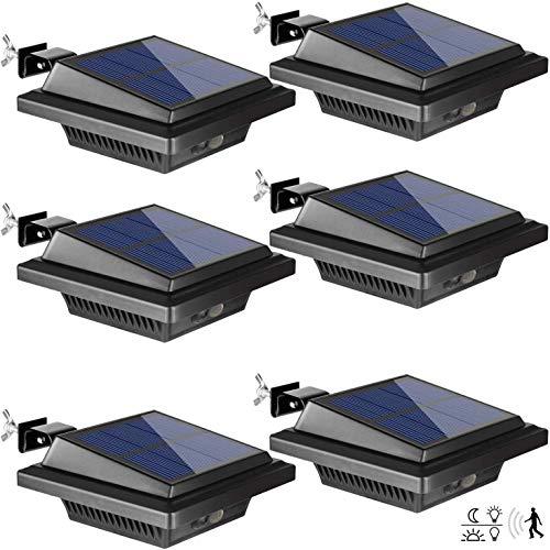 Dachrinne Solarleuchte mit Bewegungsmelder 40 LEDs | BILLION DUO Solarlampen für Außen | Schwarz Gartenbeleuchtung Kaltweißes Solarlicht, 3W PIR Sicherheitswandleuchte Außenlampe für Garage