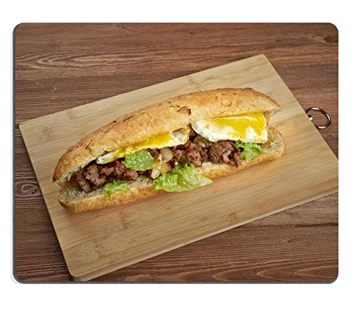 MSD caucho Natural alfombrilla para ratón imagen ID: 35005623cheesesteak Sandwich combinar bovino frizzled cebollas y queso en un pequeño molde de pan