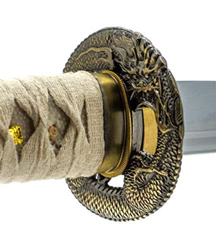 Handmade Sword - Japanese Wakizashi Sword, Practical, Hand Forged, 1045/1060/1080 Carbon Steel, Heat Tempered, Full Tang, Sharp, Wooden Scabbard (Dragon766)