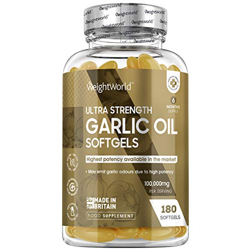 High Strength Garlic Oil Capsules - 100,000mg - 180 Capsules (6 Month Supply) - Garlic Oil Supplement, High in Allicin, Fresh Liquid Garlic, Blood, HDL & LDL, Gluten Free - Made in The UK