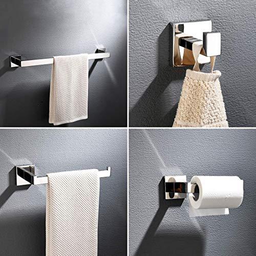 TIMACO 4-teiliges Badezimmer-Beschlagset zur Wandmontage in Chrom Handtuchhalter-Set Papierhalter Kleiderhaken für Toilette,Badezimmerzubehörset aus Edelstahl