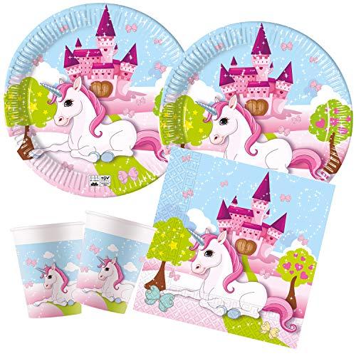 Procos Juego de Fiesta para niños con diseño de Unicornio, compostable, Platos,...