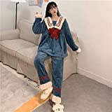SDCVRE Pijama camisón de Invierno,Pajamas Female Winter New Coral Velvet Trousers Warm Thick Pajamas Sweet Bow Plush Pajamas Set/Night Sleepwear,B Pajama Sets,One Size