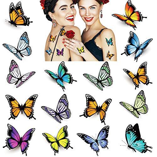 32 fogli Tatuaggi Farfalla per Donna, Tatuaggi Temporanei 3D Colorati Body Art, Adesivi Finti Impermeabili per Tatuaggi, Bomboniere per Bambini Farfalla