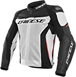 Dainese Racing 3 Chaqueta de Moto de Piel Perforada Color Blanco/Negro/Rojo 44 Euro/34 EE. UU.
