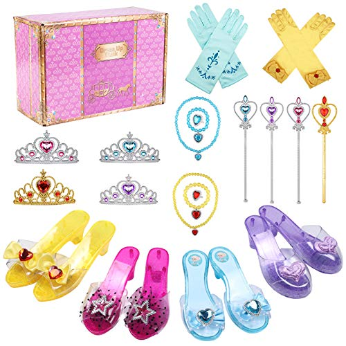 Tacobear Zapatos Princesa Niñas Princesa Disfraz Accesorios con Princesa Collar Corona Guantes Varita Mágica Pulsera Anillo Princesa Frozen Belle Rapunzel Aurora Joyas para Niñas Carnaval Halloween