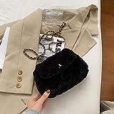 QND,Hombro Bolso,Bolso Bandolera Cuadrado de celosía Bolso de Mano de diseñador de Felpa Suave para Mujer Bolso Bandolera con Cadena de Bloqueo, Negro, 26 X 7 X 20 CM