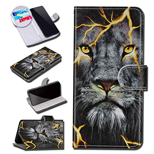Coque Compatible avec Huawei P Smart Portefeuille Cuir Étui Pochette Motif Peint Dessin PU Leather Flip Protection Housse Clapet Case Emplacements Cartes Fonction Support Antichoc Cover,Lion#1