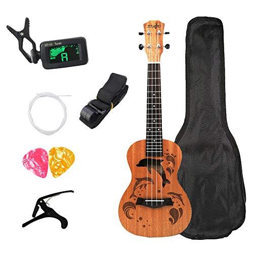 CUHAWUDBA Konzert Ukulele Kits 23 Zoll 4 Saiten Akustische Gitarre Mit Tasche Tuner Capo Gurt Stings Picks Für Anf?nger