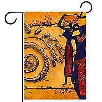 庭の旗、庭の装飾屋外看板吊り飾り、古代エジプトの女性 、テラス鉢植えデッキ用12x18インチ