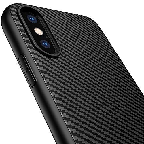 Yokase Coque iPhone XS, Ultra Mince Carbon Fiber TPU Shock Absorption [Poids léger] [Anti-Rayures] Etui Case pour iPhone XS/X - 4.7 pouces - Noir